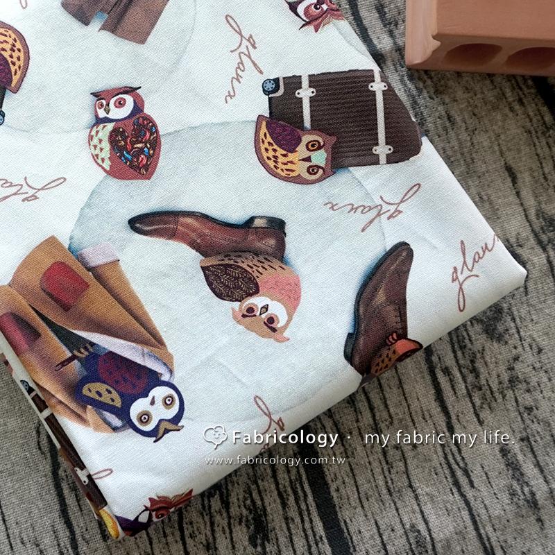 布學盒裝印花布(3尺)冬旅貓頭鷹 手工藝DIy拼布布料 SW001709-11