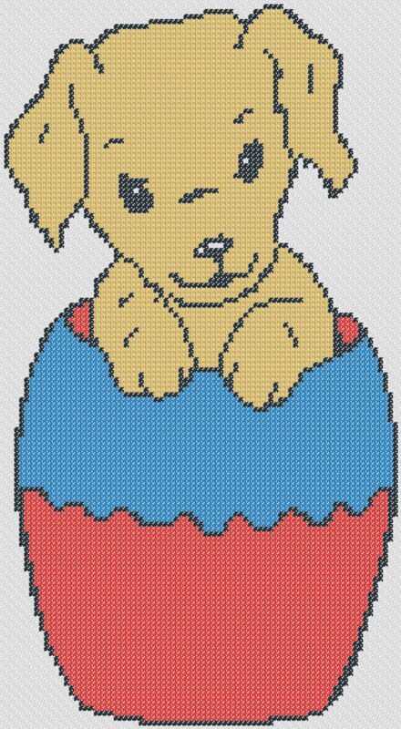 Preview of Free printable easter cross stitch patterns: Easter Puppy