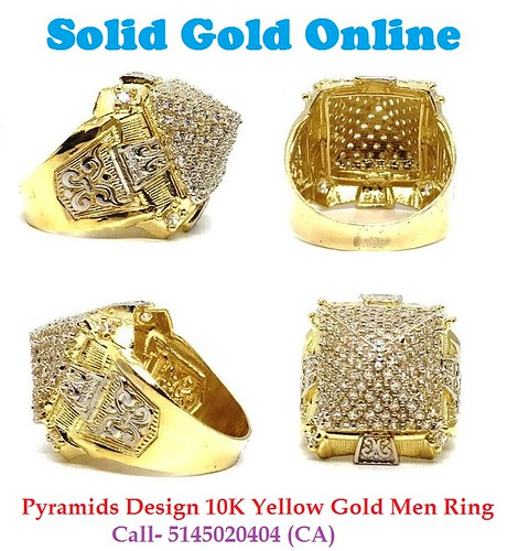 Cheap Pyramids Design 10K Yellow Gold Men Ring Canada