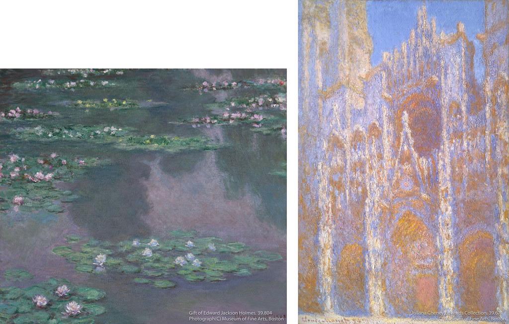 左)クロード・モネ《睡蓮》(1905年)ボストン美術館所蔵 右)クロード・モネ《ルーアン大聖堂、正面》(1894年)ボストン美術館所蔵