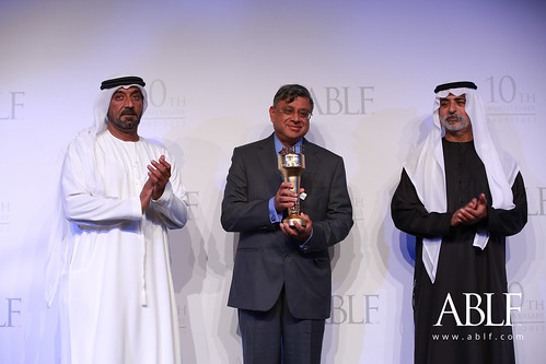 P.S. Jayakumar, Chairman, Bank of Baroda, India, receiving the ABLF Business Innovator Award from H.H. Sheikh Nahayan Mabarak Al Nahayan, Cabinet Member and Minister of Tolerance, UAE