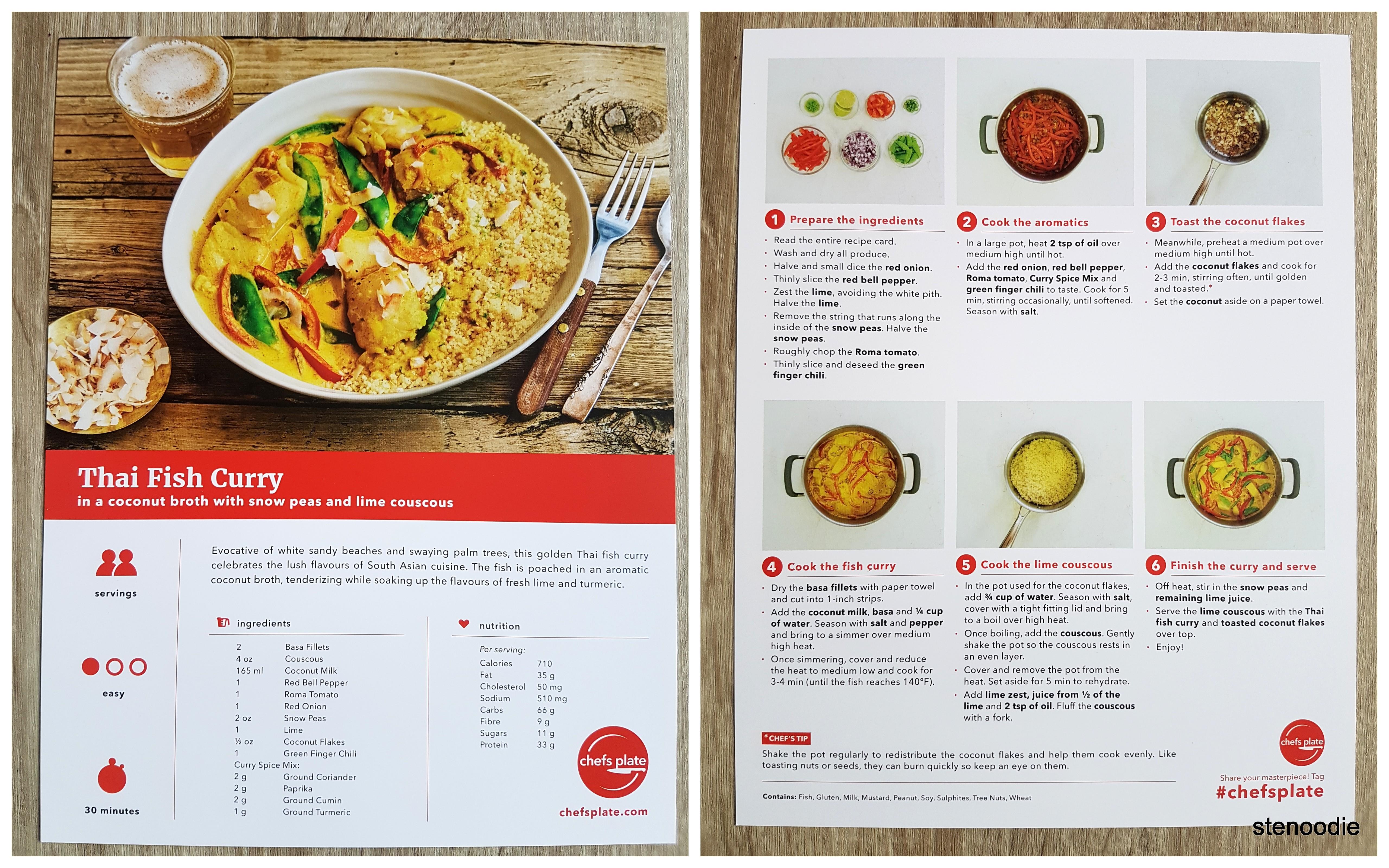 Thai Fish Curry recipe card