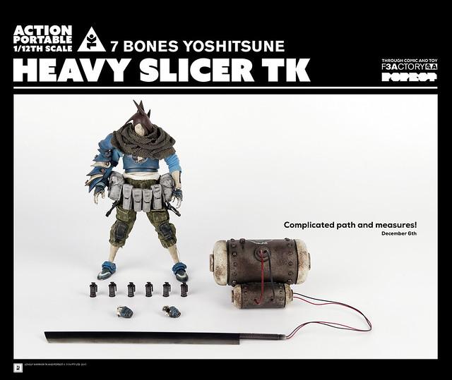 手持魄力巨劍重裝登場!!threeA Action Portable 系列【重劍明日帝 七骨Yoshitsune、亂入Interloper】AP Heavy Slicer TK  1/12 比例人偶作品