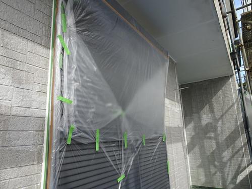 外壁の養生とマスキング