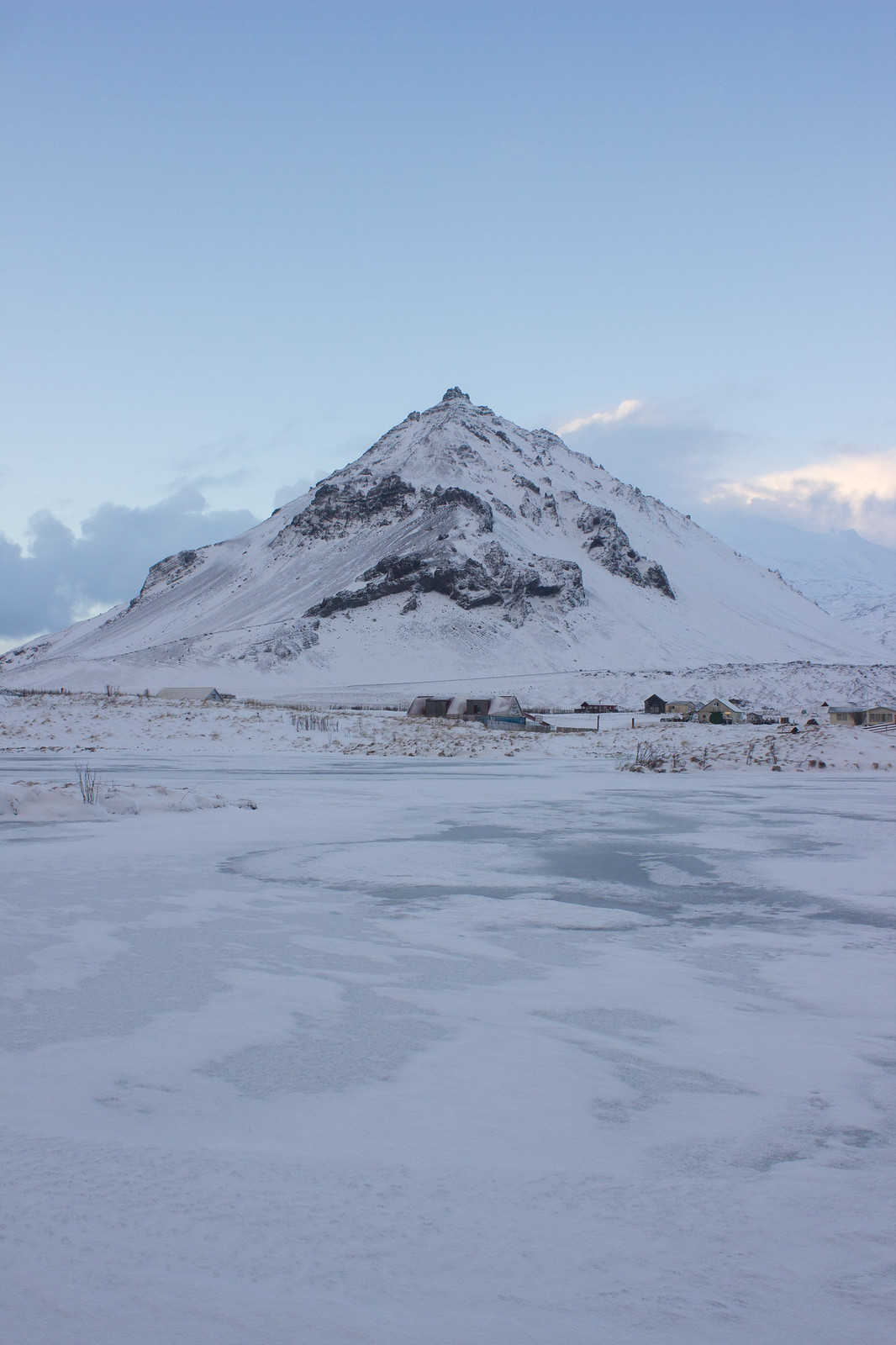 Snaefellsjokull viewed across a frozen lake in December