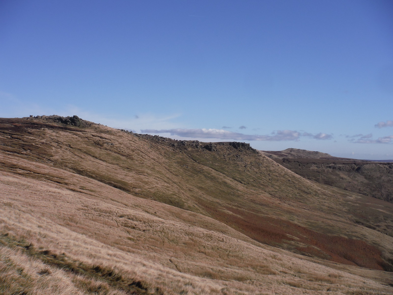 Pym Chair Rock Formation (Pym Chair on far left) and edge at Woll Packs SWC Walk 304 - Kinder Scout Circuit (from Edale)