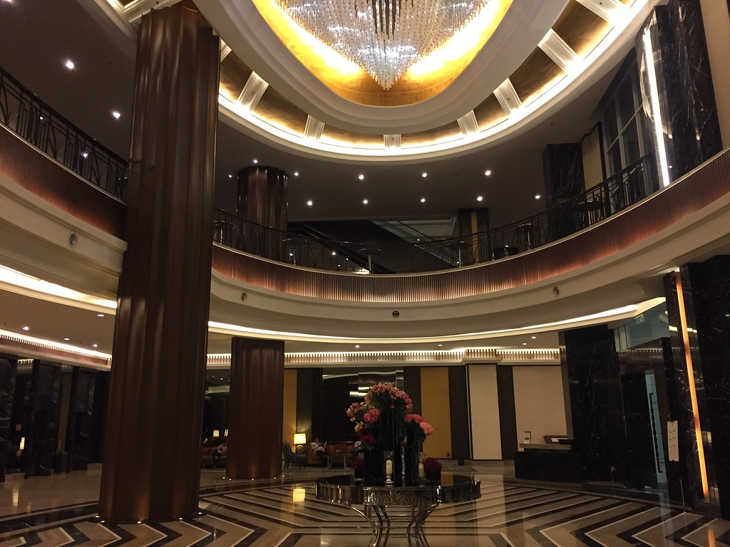 The lobby and hotel entrance