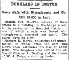 Wash Post, Wed Oct 30, 1907, p.3 H.E. Morey safe blown open