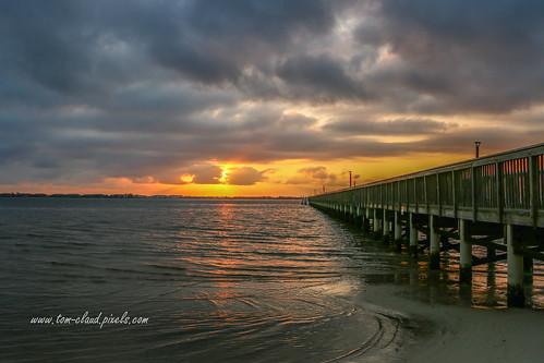 sun sunrise river lagoon indianriverlagoon indianriver indianriversidepark pier beach sand water clouds cloudy storm stormy weatherjensenbeach florida usa