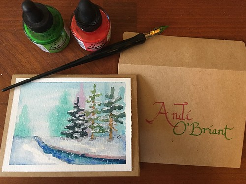 Watercolor Christmas Cards Step By