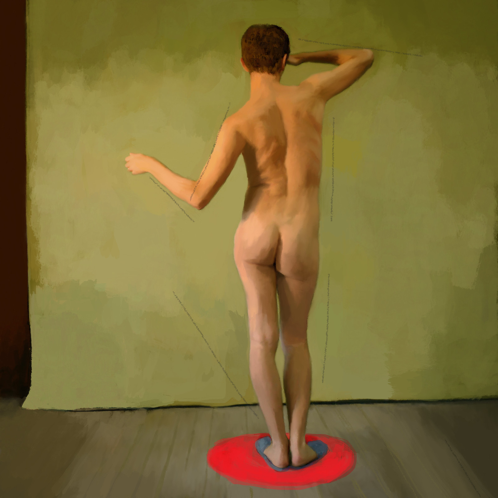 Man in Blue Slippers Standing on Red Rug