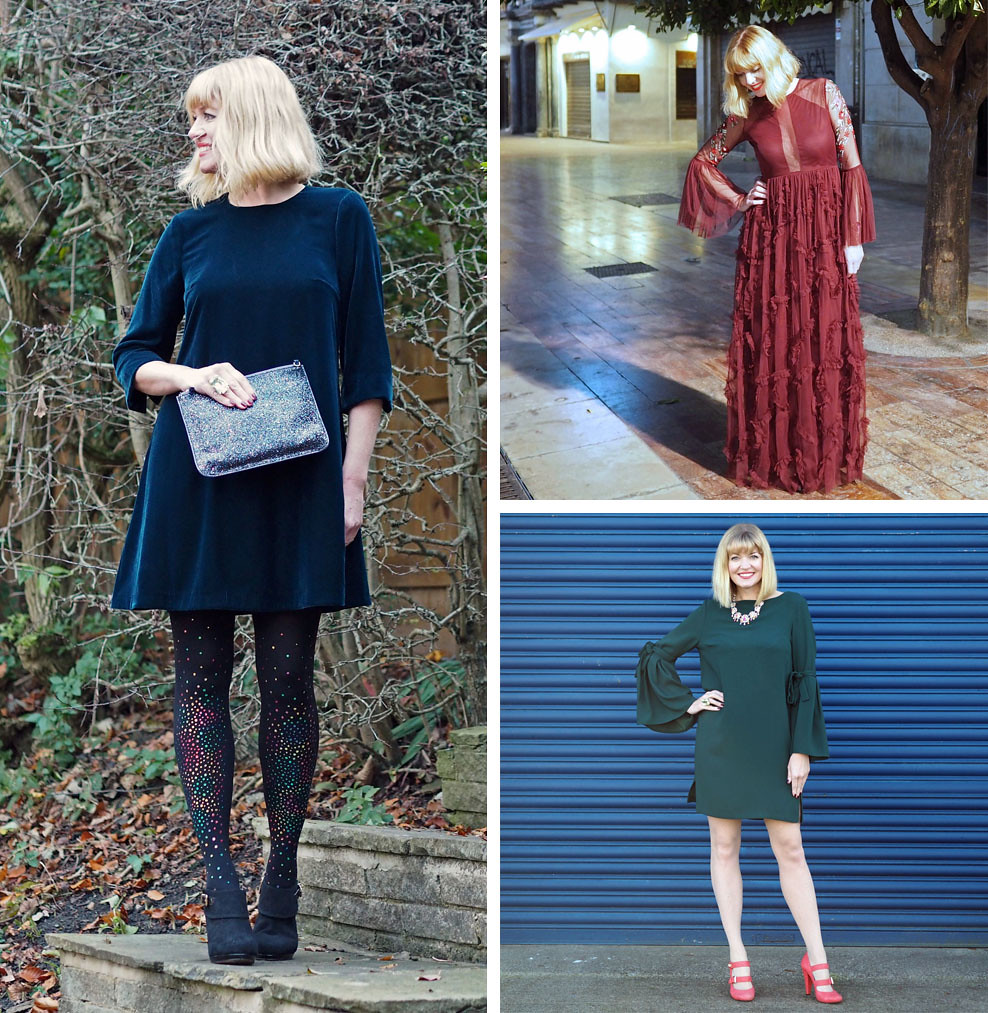 21 Christmas Party Outfits for Over 40 Women (Romantic, feminine styles in jewel tones from Liz, What Lizzy Loves)