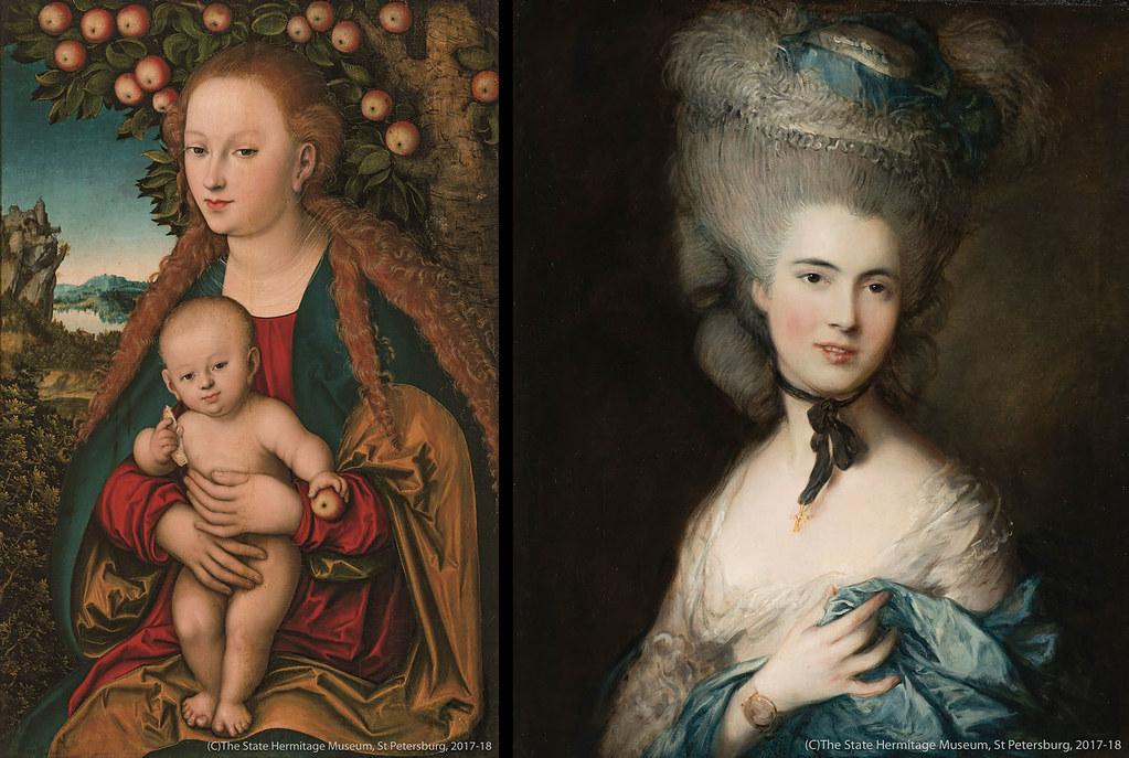ルカス・クラーナハ《林檎の木の下の聖母子》(1530年頃)エルミタージュ美術館所蔵 21 トマス・ゲインズバラ《青い服を着た婦人の肖像》(1770年代末-80年代初め)エルミタージュ美術館所蔵