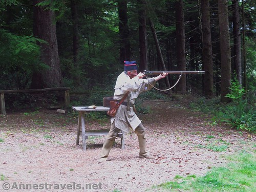 Shooting off a musket at Fort Clatsop, Lewis & Clark National Historical Park, Oregon