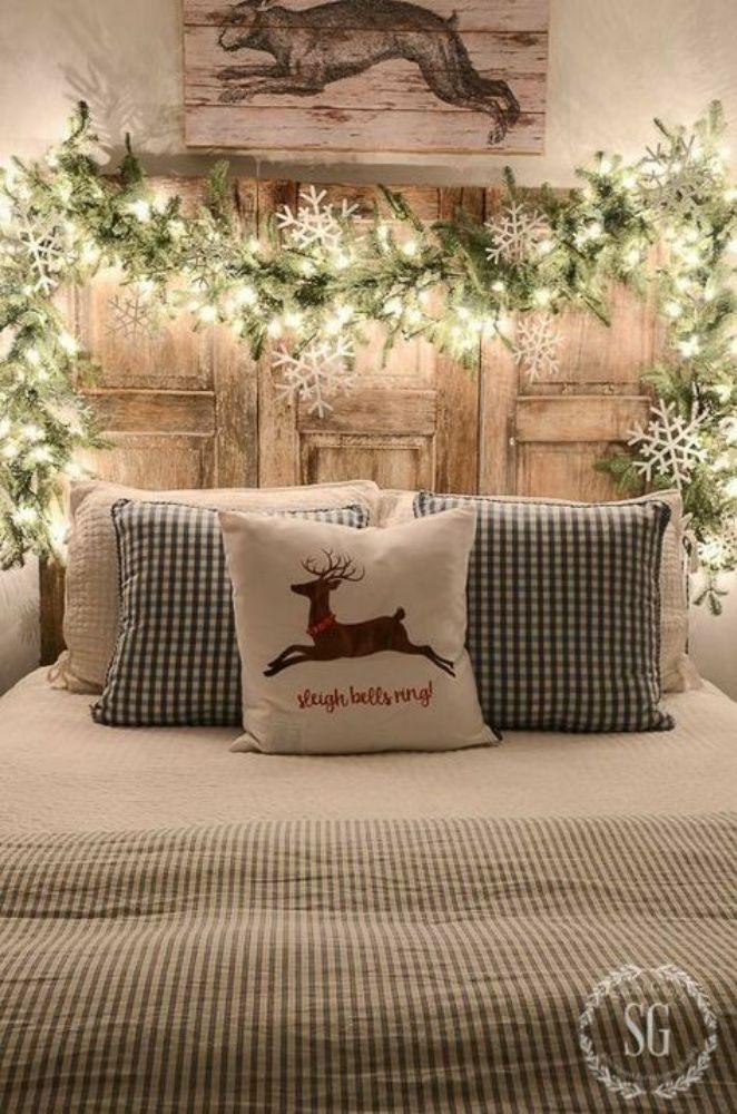 Bedroom Headboard Holiday Garland Decor Scandinavian Christmas Decorations
