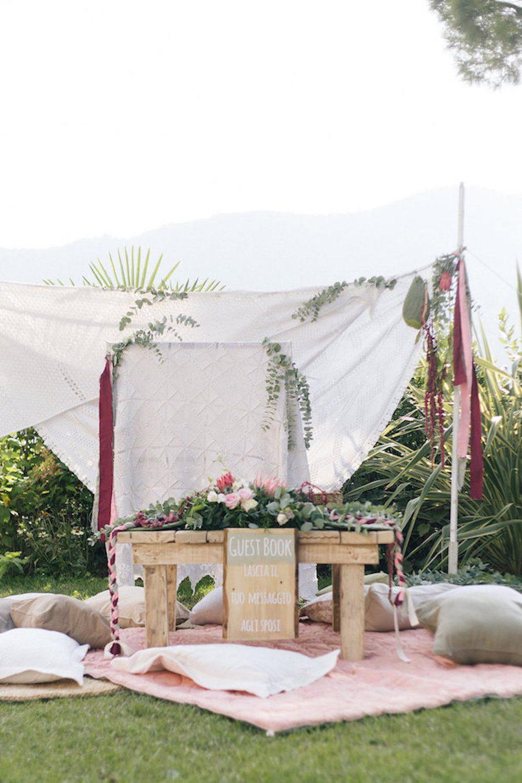 Boho wedding gust book table - Photography_ Irene Fucci