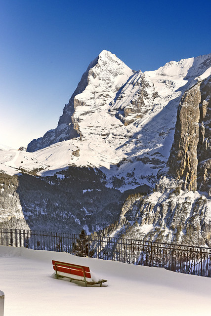 Murren : A lonely bench in-front of the Mighty Eiger.Canton of Bern, Switzerland. 15.11.17, 16:29:42. Izakigur No. 1181.