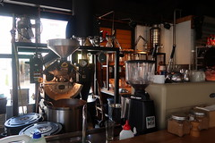 The roaster at Acme & Co's HQ: Prefab Cafe, Wellington