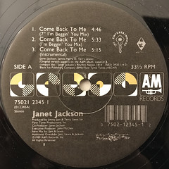 JANET JACKSON:COME BACK TO ME(LABEL SIDE-A)