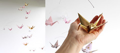 Pink and Gold Paper Crane Mobile