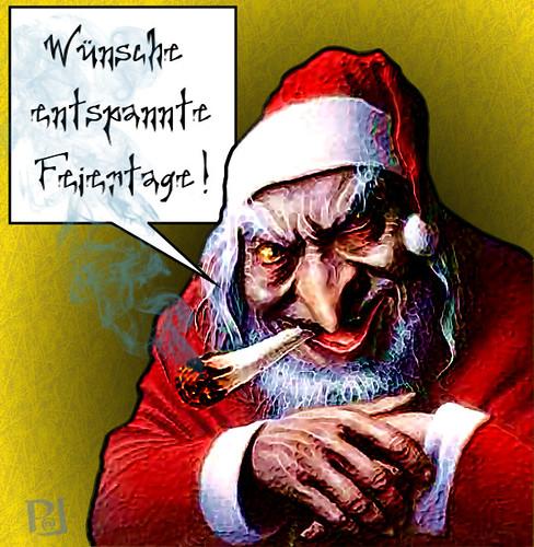 Kiffender Weihnachtsmann