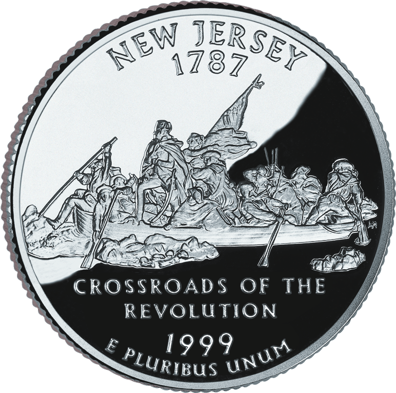 United States quarter dollar coin released in 1999 as part of the State Quarters Series, representing the state of New Jersey, depicts