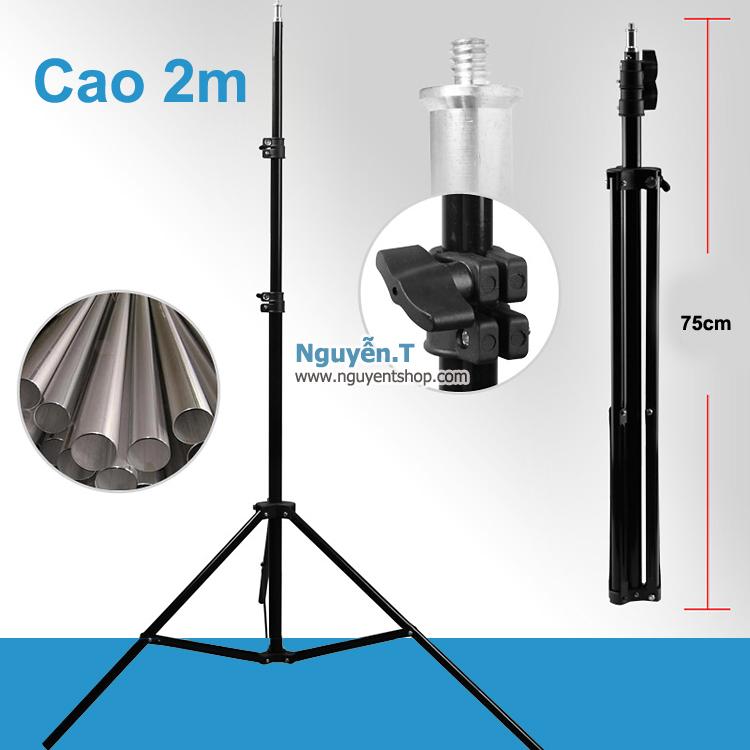 Chân đèn Led đèn Flash cao 2m ốc 1/4 gắn được máy ảnh kẹp điện thoại