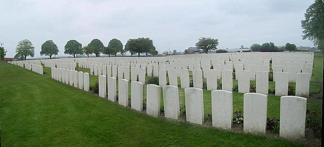 Lines of Graves, Poelcapelle War Cemetery