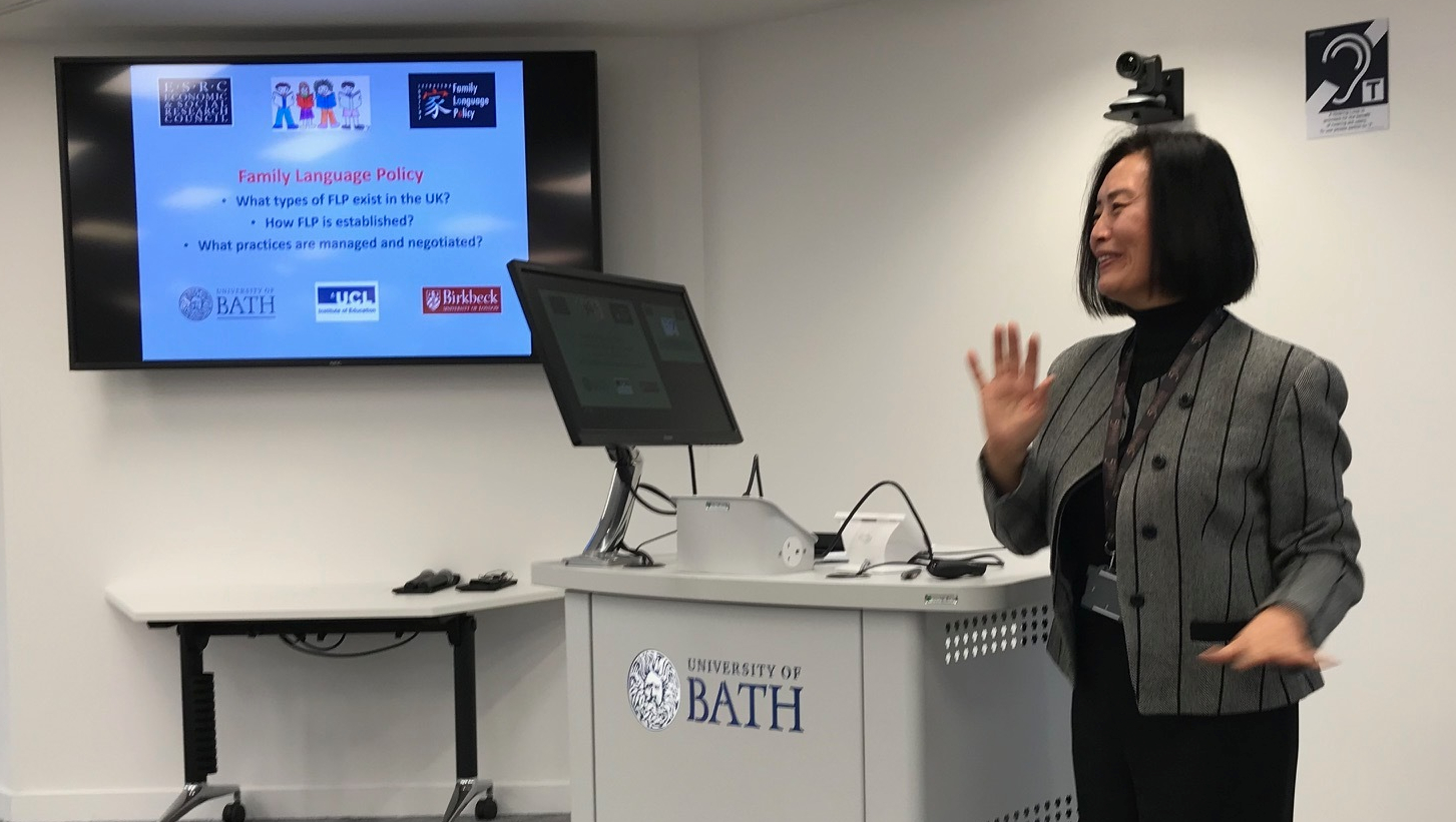 A Bath lecturer giving a talk on multilingualism