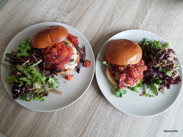 Pork Bruschetta Burgers two servings