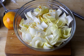 lightly dressed endive petals
