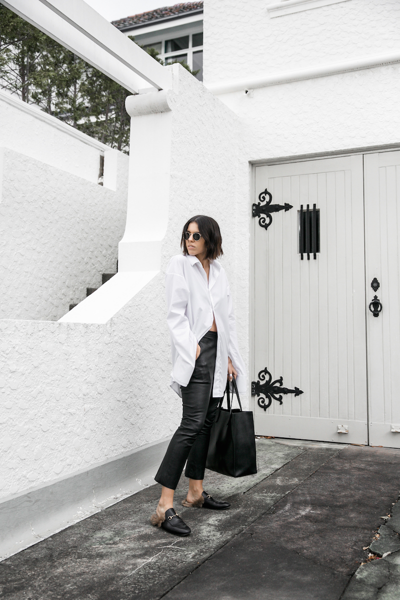 minimal monochrome fashion blogger bassike black leather pant givenchy logo tote stargate oversized white shirt blunt bob brunette Instagram (1 of 15)