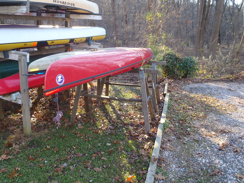 The only photos I currently have. A side edge view of that rack. & DIY Canoe Storage Rack - Canoetripping.net Forums.