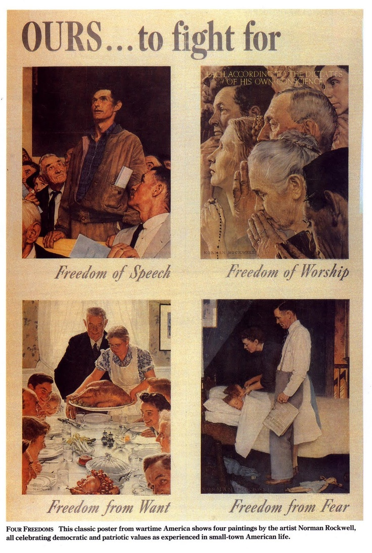 Norman Rockwell's 1942 paintings based on the 1941 Four Freedoms Speech