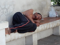 Asleep on a Bench