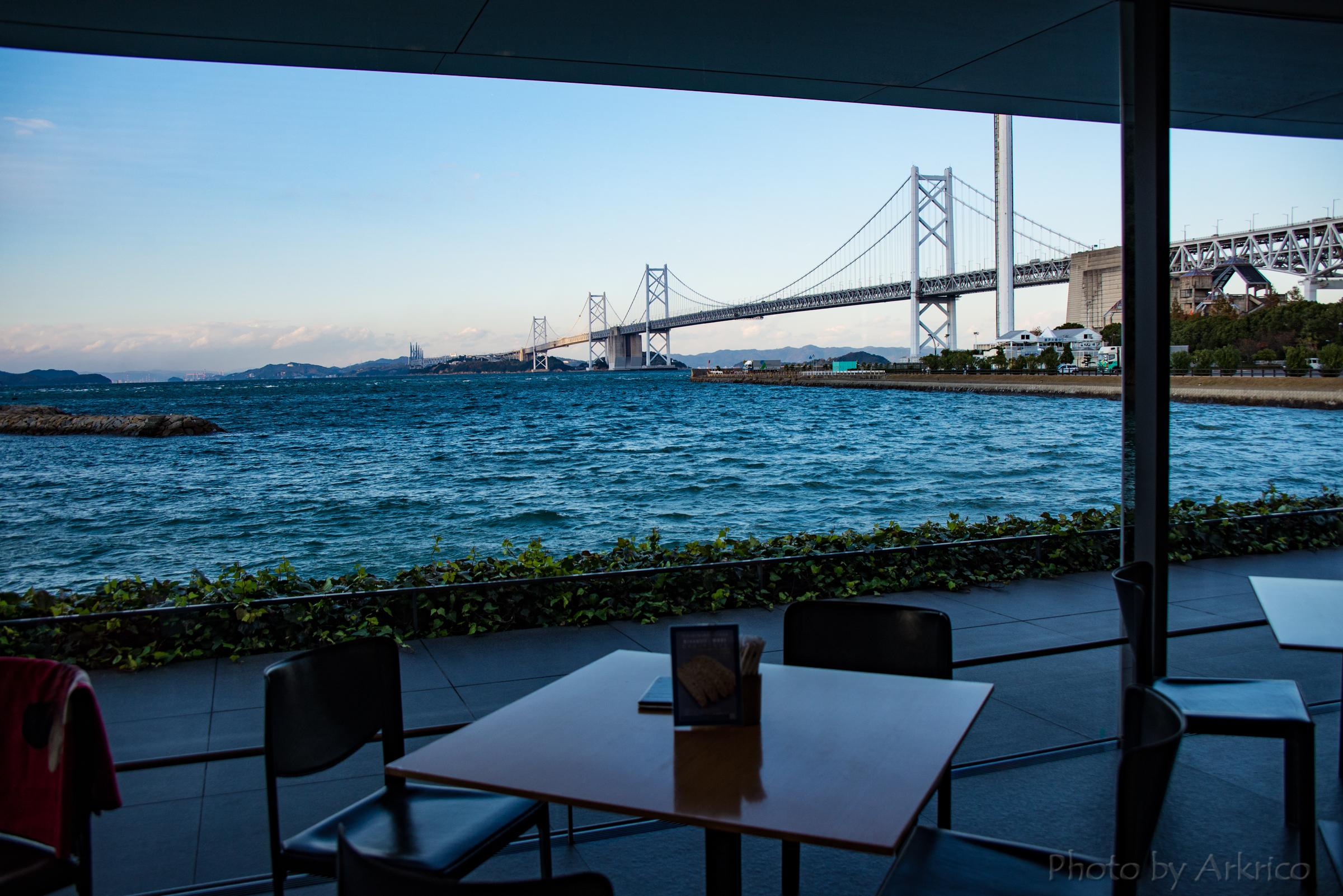 Seto-Ohashi Bridge view from the tea lounge.