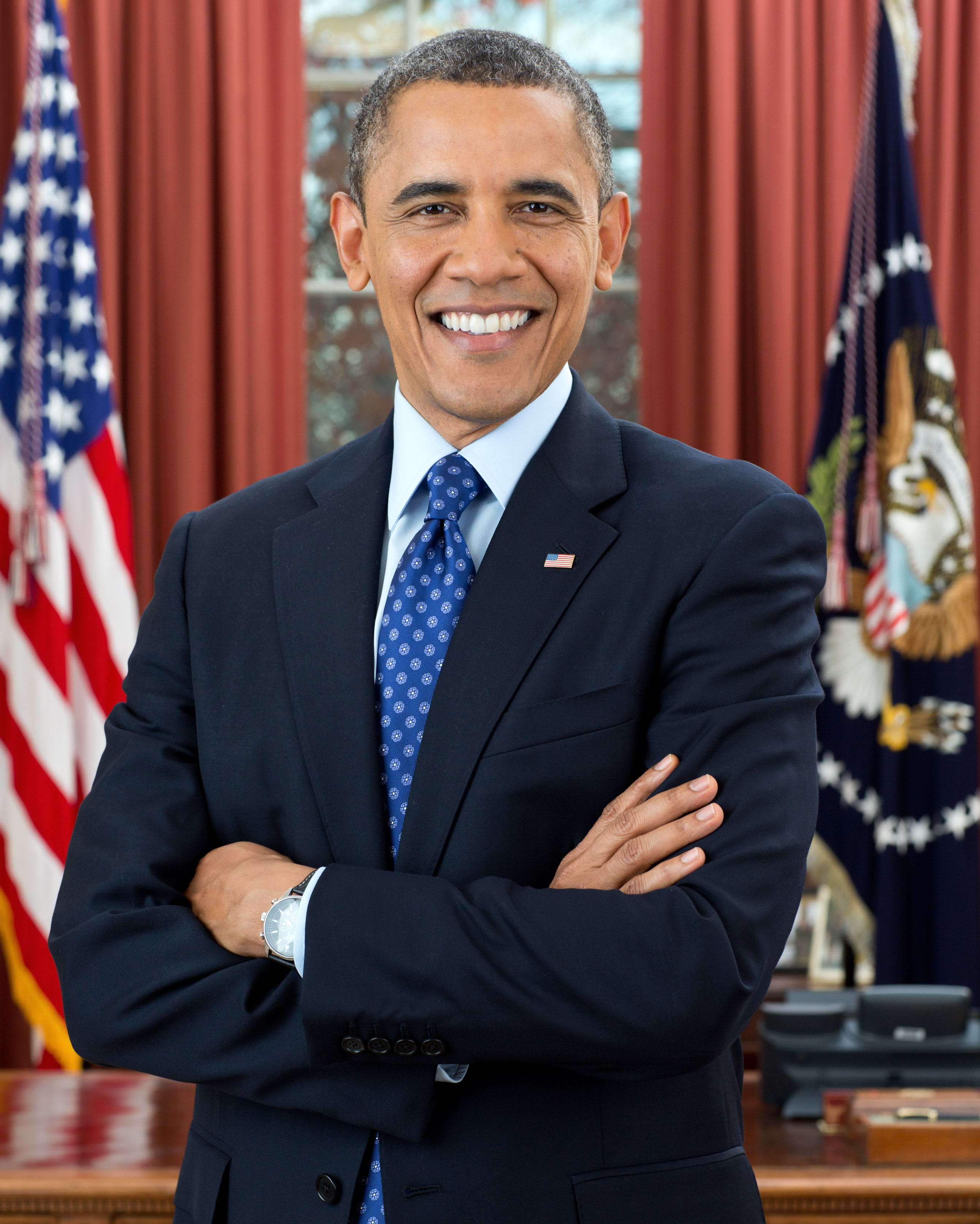 President Barack Obama is photographed during a presidential portrait sitting for an official photo in the Oval Office, December 6, 2012. Official White House photo by Pete Souza.