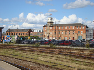 Photo showing Derby's clock-topped 'roundhouse'.