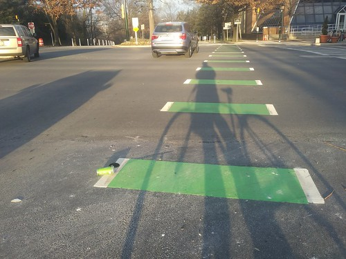 Color coordinated litter on the Second Avenue Cycletrack in Silver Spring