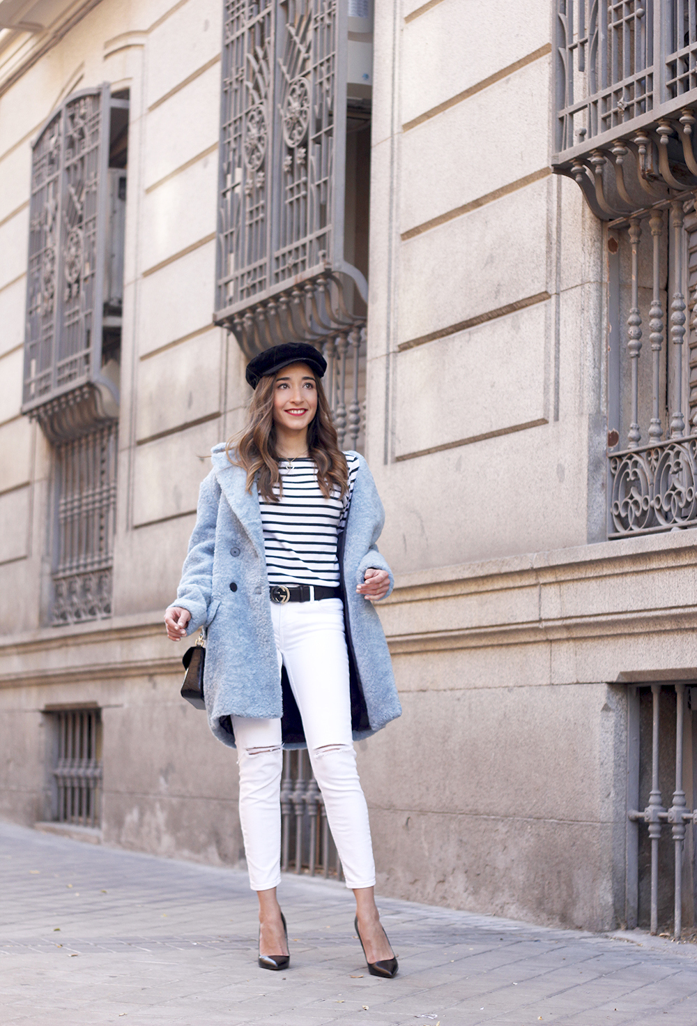 blue fur coat stripes white ripped jeans givenchy bag navy cap fall outfit street style06