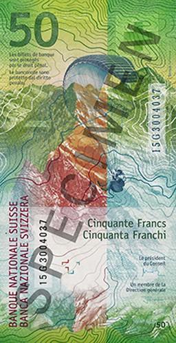 Switzerland 50 franc banknote