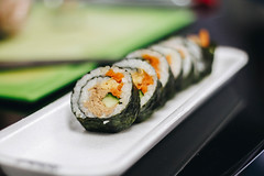 Sushi rolls with tuna, carrot and cucumber. Close up