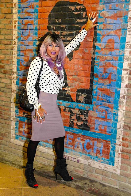 Cortney - High Class Hooker look - Purple Hair Polkadot top with Lavender Theme