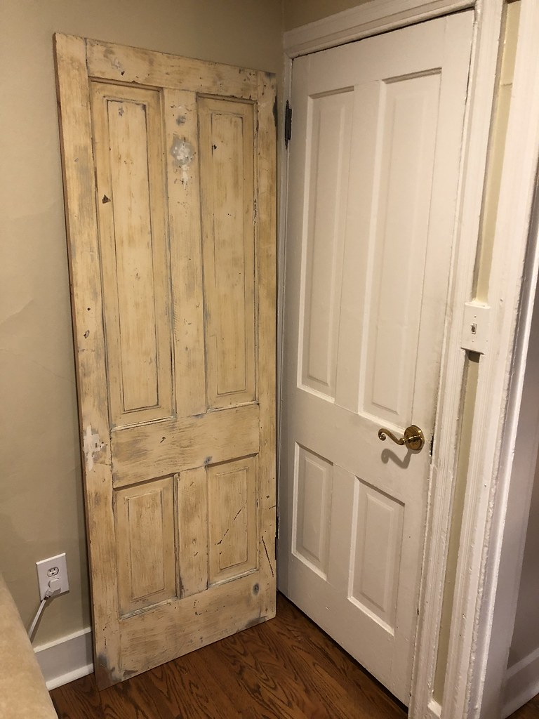 The door on the right is the final remaining original unstripped door with 1980s hardware in the house. The door on the left is our matched salvaged door. & How To Install a Salvaged Door with Antique Hinges - Old Town Home