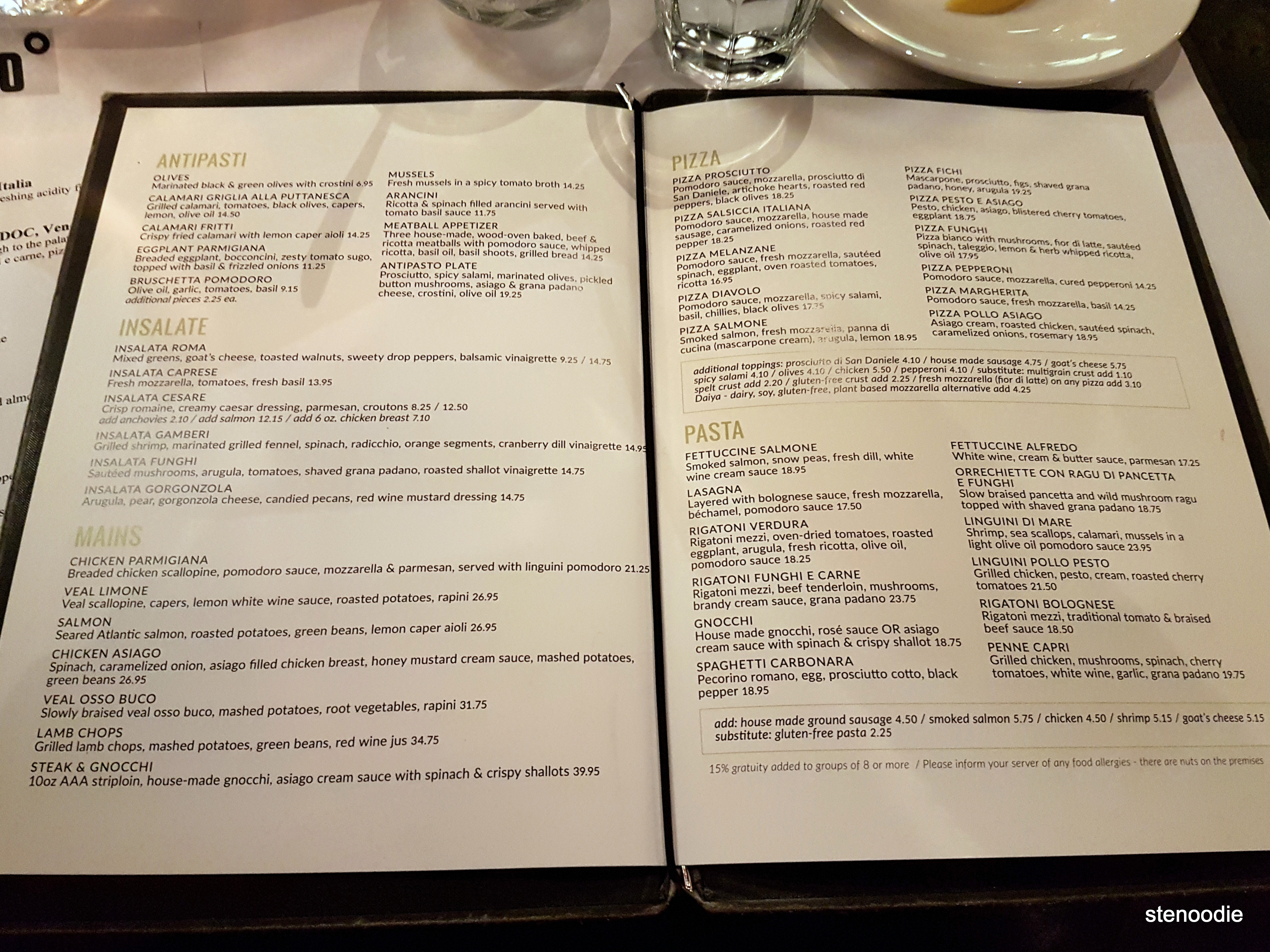 Il Fornello dinner menu and prices