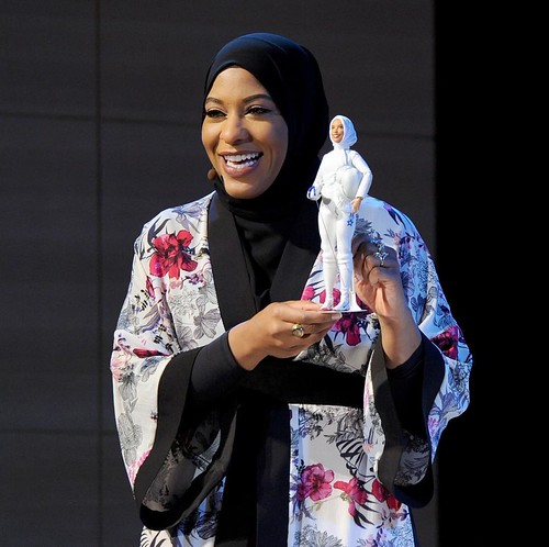 @dukealumni @ibtihajmuhammad makes history again today unveiling @mattel's #Barbie designed after her, and the first ever Barbie to wear a #hijab. #foreverduke #representation #dukealumni PC: Craig Barritt/Getty