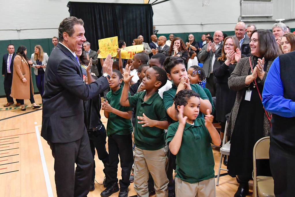 Governor Cuomo Makes an Announcement at Hamlin Park Claude & Ouida Clapp Academy