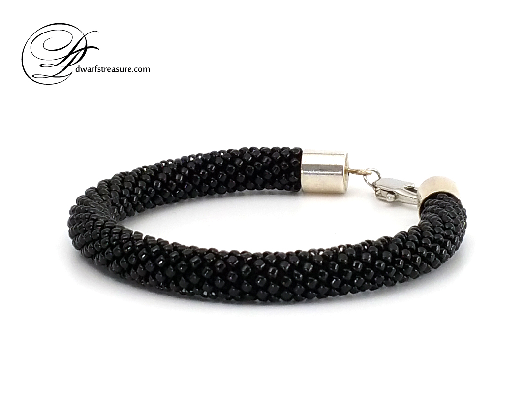 Stylish black beaded crochet rope bracelet