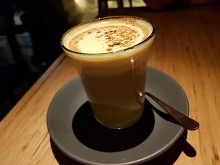 Turmeric latte at Transformer