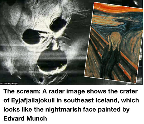 A radar image shows the crater of Eyjafjallajokull in southeast Iceland, which looks like the nightmarish face